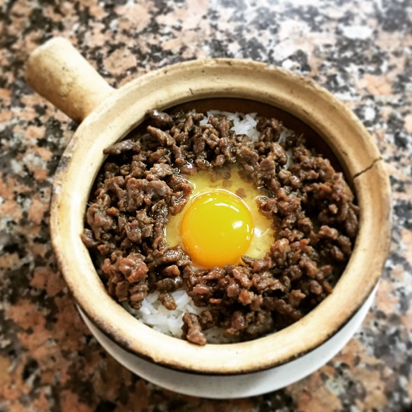minced beef clay pot rice with egg @ Wing Hop Shing 永合成
