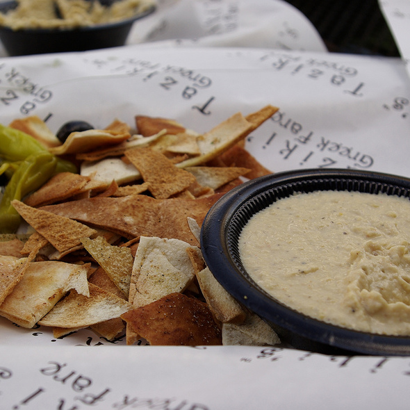 pita chips with hummus @ Taziki's Greek Fare
