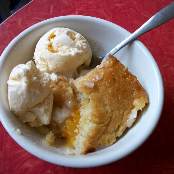 Peach Cobbler a la mode @ Cahoots Cafe
