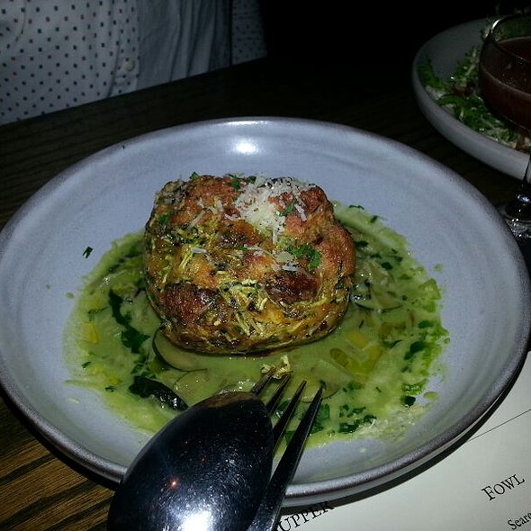 Zucchini Muffin With English Pea Puree @ Livestock Tavern
