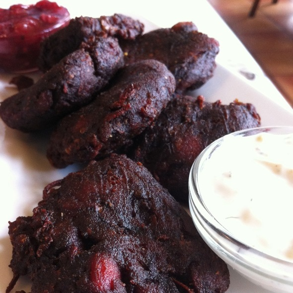 Beet And Potato Pakoras - Spinnakers Gastro Brewpub, Victoria, BC