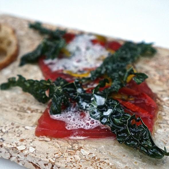 Ahi tuna crudo, buddda's hand vinaigrette, white balsamic, crispy kale, beets