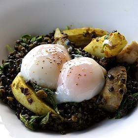 Curried lentils, arugula, fennel, radish, yam, poached eggs - The Restaurant at Hotel Wailea (fka Capische), Wailea, HI