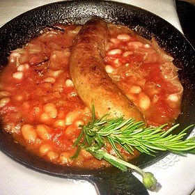 Veal Sausage Cassoulet With White Cabbage & Cannellini Beans