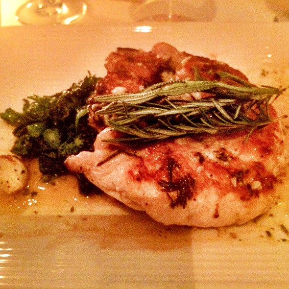 Half Chicken, Brick-Pressed And Seasoned With Fresh Garlic And Herb Mustard Sauce - Onotria Wine Country Cuisine, Costa Mesa, CA
