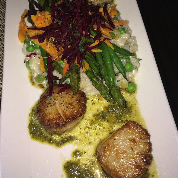 Seared Scallops With English Pea Risotto - Rezaz Mediterranean Cuisine, Asheville, NC