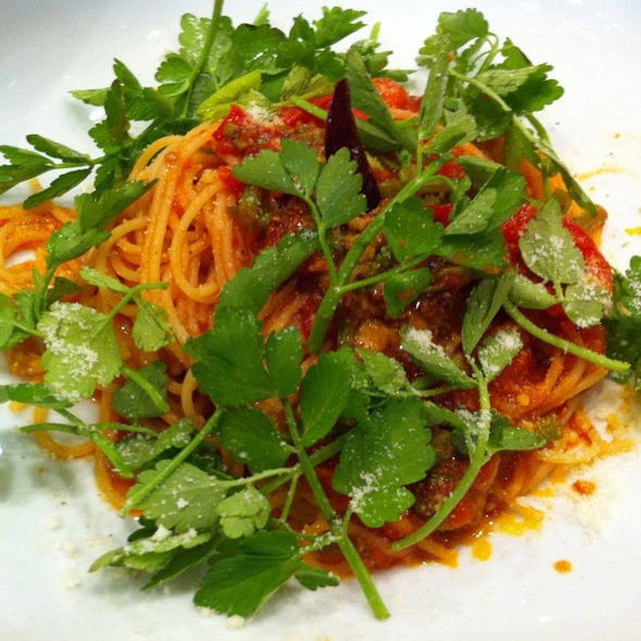 Tomato Sauce Spagettini With Japanese Wild Herb @ aw kitchen10 麻布十番店