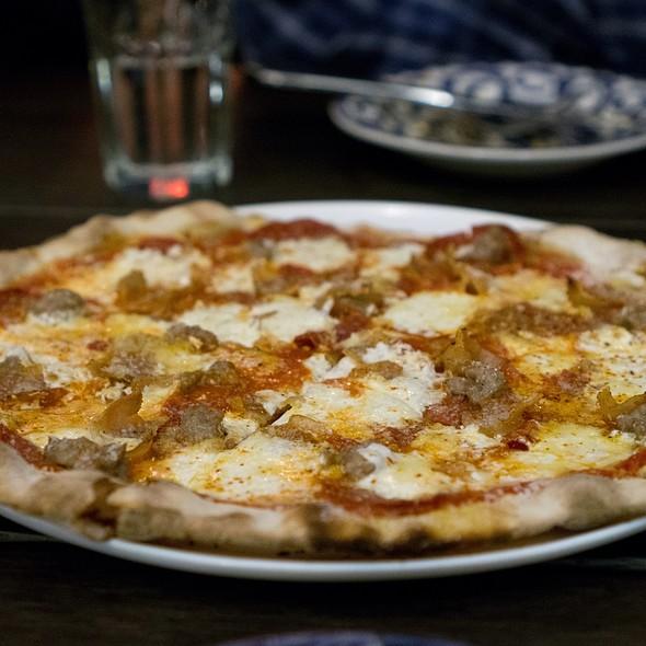 Salsiccia Pizza With Mozzarella, Pork Sausage, And Crimini Mushrooms @ Marta