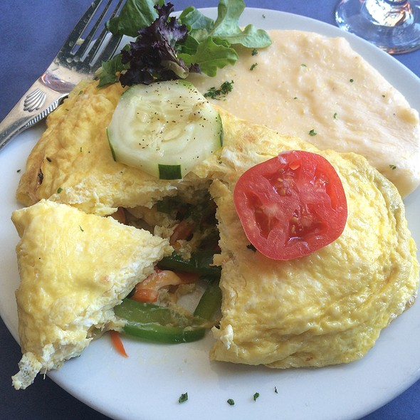 Crab Omelette With Cheese Grits - The Blue Fish Restaurant, Jacksonville, FL