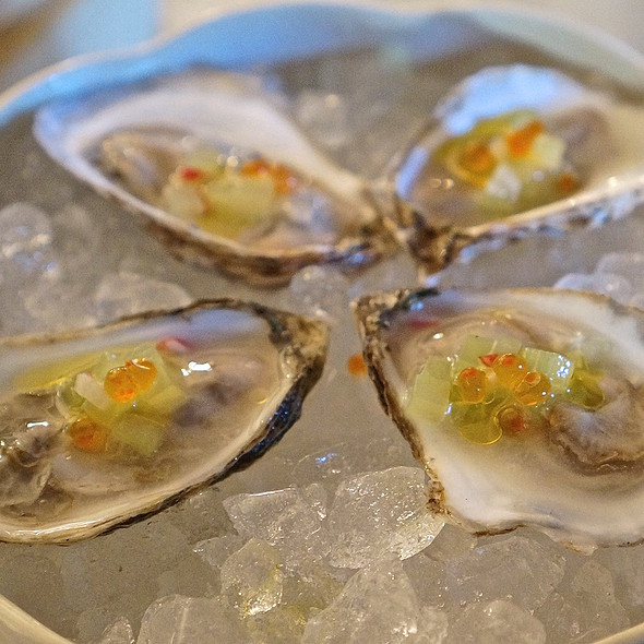 Beausoleil oysters, trout roe, EVOO, yuzu, grains of paradise