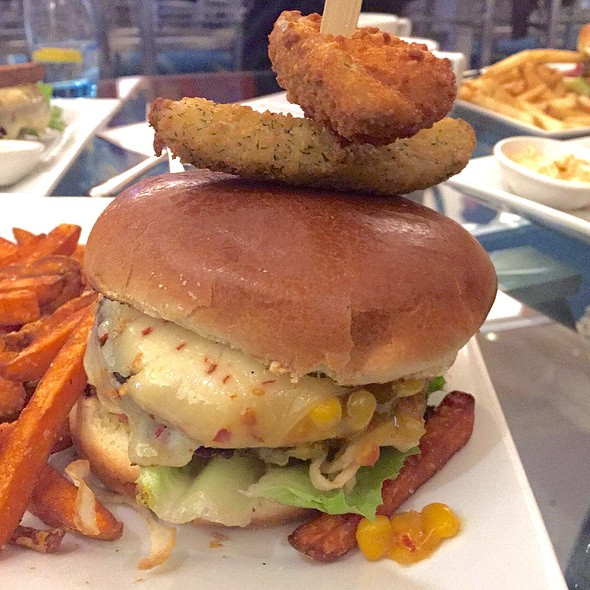 veggie burger with sweet potato fries @ Water's Edge Resto Bar Gril