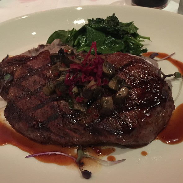 14 Oz. New York Strip Steak With Bbq Demi Glaze And Purple Truffle Potatoes - Johnny V, Fort Lauderdale, FL
