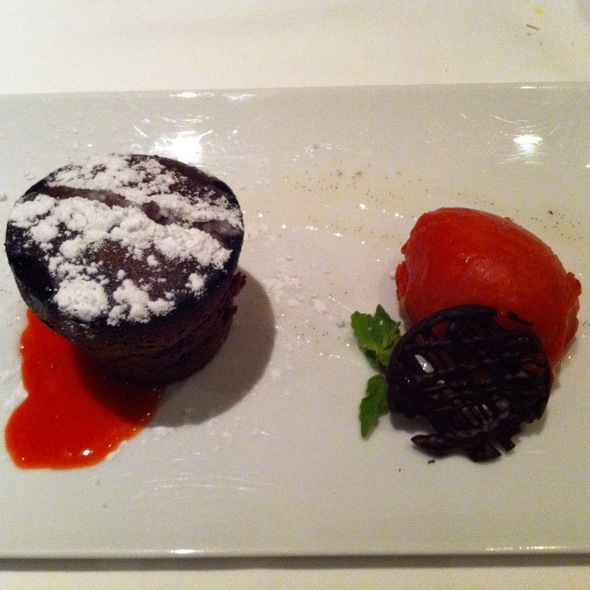 Molten Chocolate Cake With Strawberry Sorbet @ La Brace