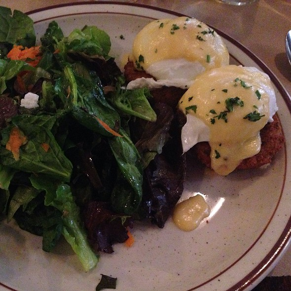 Salmon Cake With Poached Eggs - Beehive, Boston, MA