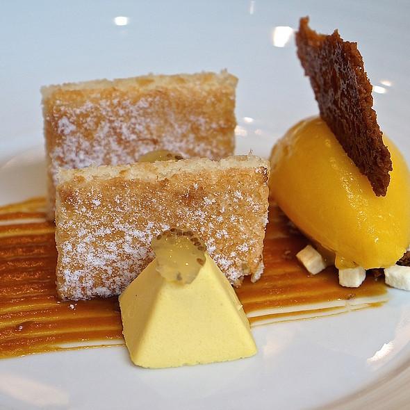 Coconut almond flour cake, mango semifreddo, mango mojito sorbet, key lime chia seed gelée, dried mngo sesame crumble