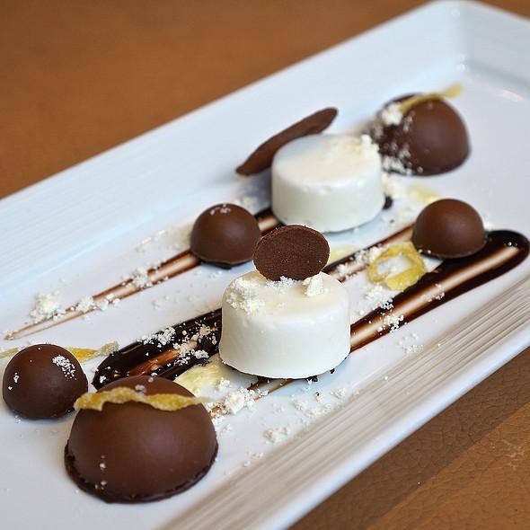Manjari chocolate budino, lemon granita, chocolate tuile, candied lemon peel