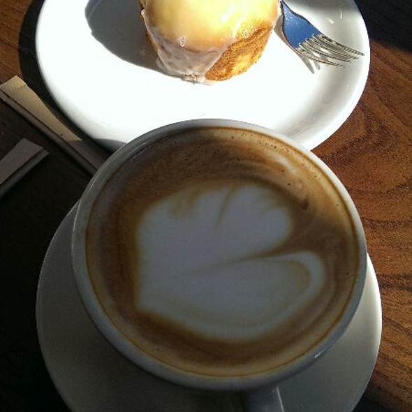 Lemon cake and latte @ Storyville Coffee