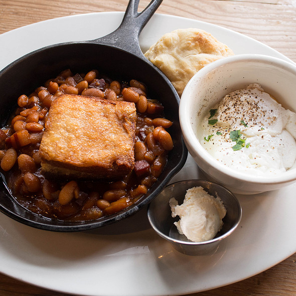 Pork Belly With Homemade Baked Beans, Corn Bread and Poached Egg - Local 360 Cafe & Bar, Seattle, WA