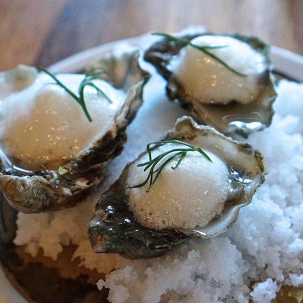 Kumamoto oysters on the half shell, prosecco mignonette