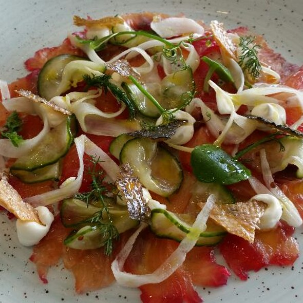 Beetroot Cured Loch Duart Salmon, Pickled Fennel&Cucumber, A Work of Art, Great Flavours All Round !
