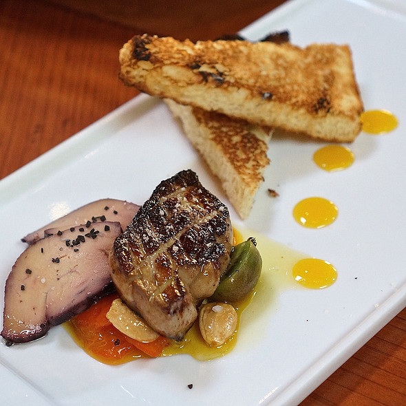 Pan seared and cured foie gras, candied kumquats, marcona almonds, savory brioche @ Valette