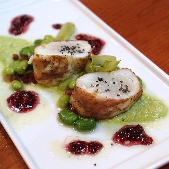 Pancetta-crusted Alaskan halibute, edamame hummus, baby roasted fennel, onion vinaigrette - Valette, Healdsburg, CA
