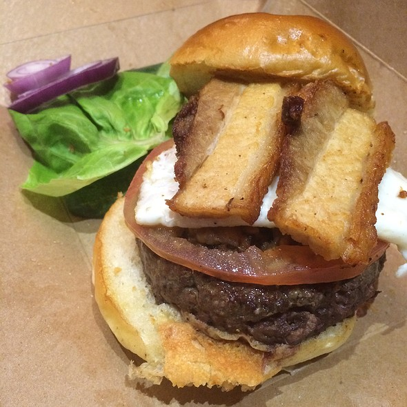 Burger With Pork Belly And Fried Egg
