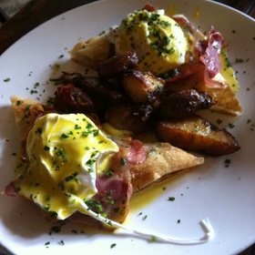 Uovo Benedetto (Poached Eggs On Rosemary Foccaccia Toast With Grilled Prosciutto) - In Vino Restaurant & Wine Bar, New York, NY