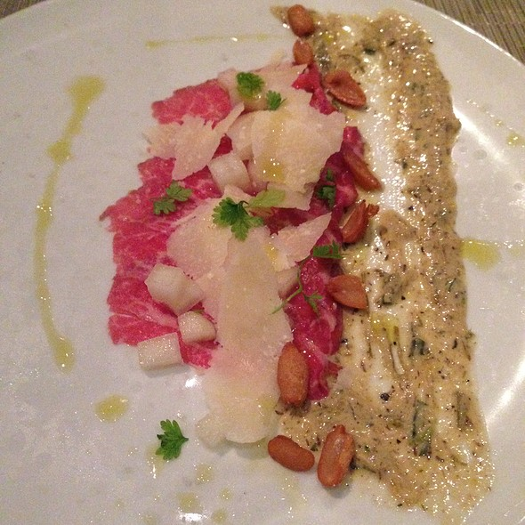 Smoked Beef Carpaccio with Pear, Pecorino Romano Shavings, Pickled Peanuts and Garlic Leek Aioli - Chef and The Farmer, Kinston, NC