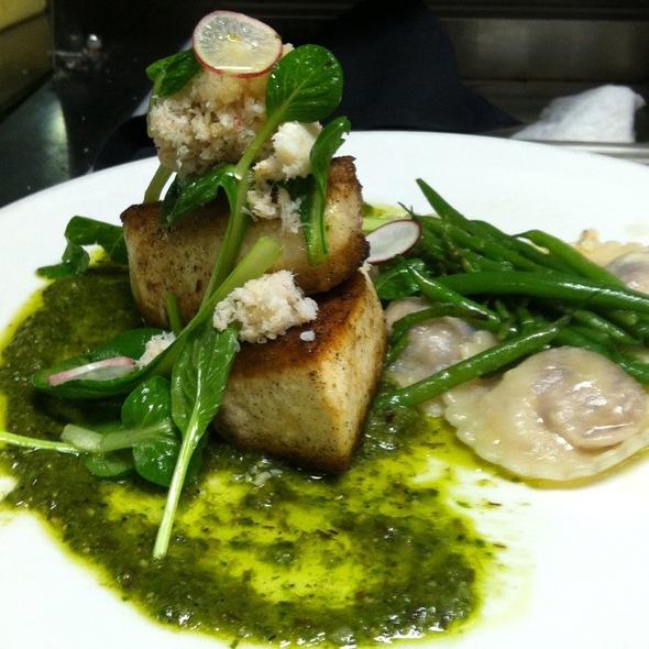 Pan Seared Swordfish, Short Rib & Marscarpone Raviolis Haricot Verts, Ramp Pesto