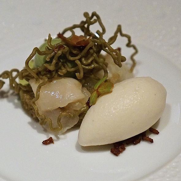 Matcha – green tea custard, preserved lychee, jasmine ice cream at ...