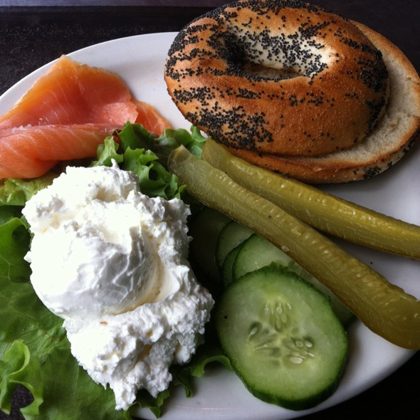 cream cheese and smoked salmon bagel @ Bread and Rose Bakery Cafe