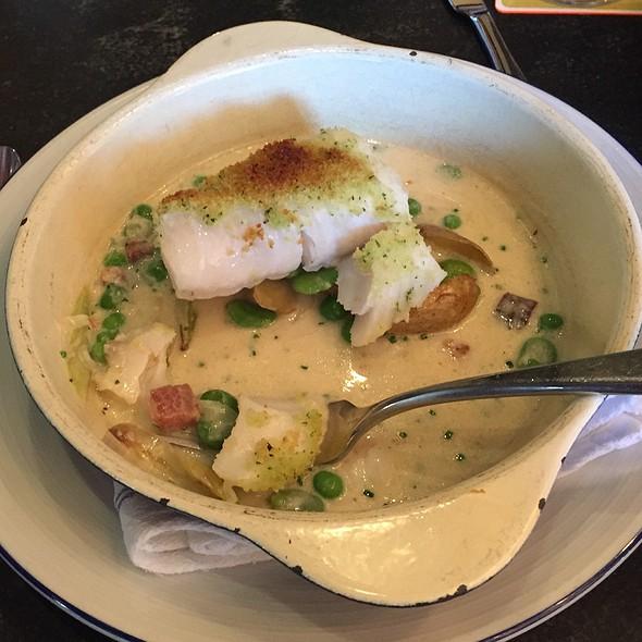 Cod With Spring Vegetable Chowder @ Island Creek Oyster Bar