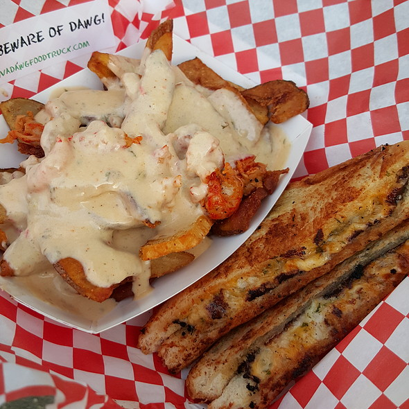 crabmeat grilled cheesy & crawfish etouffee fries @ Diva Dawg Food Truck