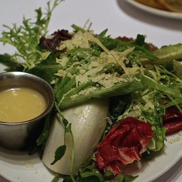Endive, frisée salad, pea tendrils, sugar snap peas, parmesan, champagne dressing - VILLAGE California Bistro & Wine Bar, San Jose, CA
