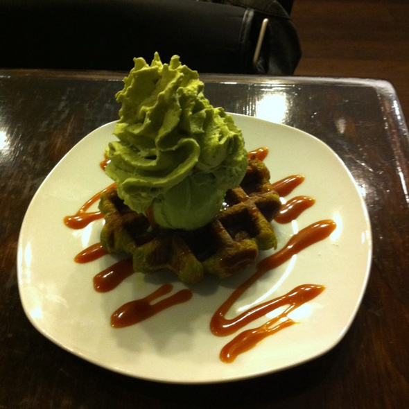 Green Tea Liege Waffle With Green Tea Ice Cream @ Mochi Cafe