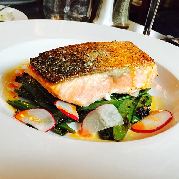 Crispy Skin Salmon With Charred Snap Peas - Cafe Genevieve, Jackson, WY