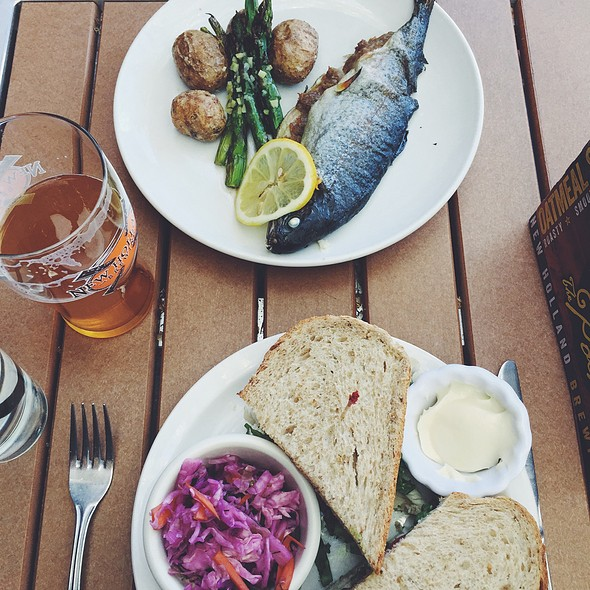 Turkey Avocado Sandwich And Pork Stuffed Trout And White Hatter Beer