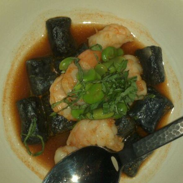 Black Gnocchi Squid Ink, Carrot Lobster Broth, Prawns, & Fava Beans @ GT Fish & Oyster