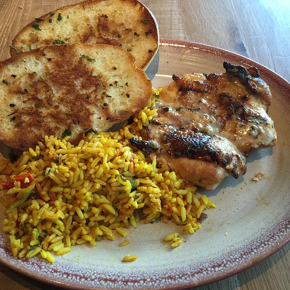 Flame-Grilled Butterfly Chicken Breast With Portuguese Rice And Garlic Bread @ Nando's Peri-Peri