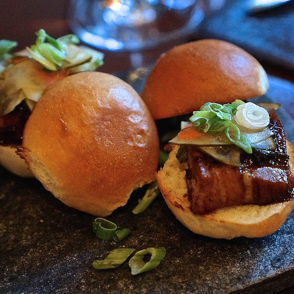 Pork belly sliders – black pepper relish, slaw, green onions - Flame Restaurant, Vail, CO