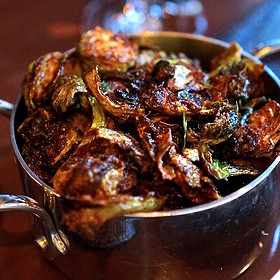 Crispy kimchi Brussels sprouts