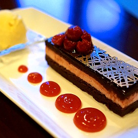 Black Forest cake –chocolate flourless cake, dark cherry mousse, Tahitian vanilla bean ice cream