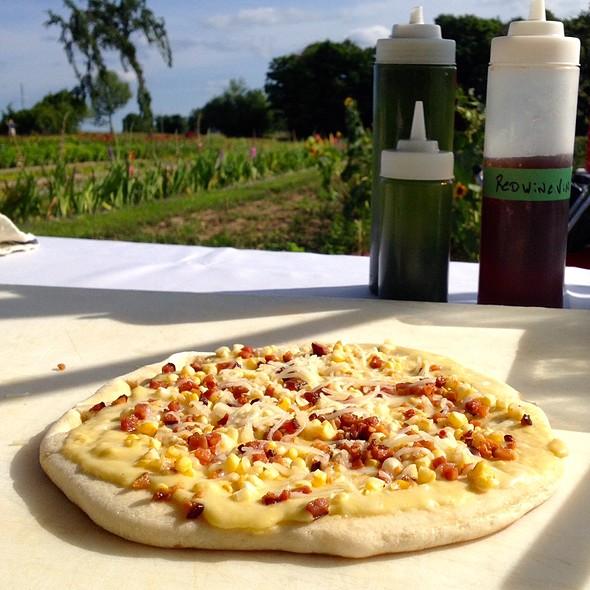 Sweet Corn & Bacon Pizza - Kiteley's Farm Dinner - Grey Gables Inn, Charlevoix, MI