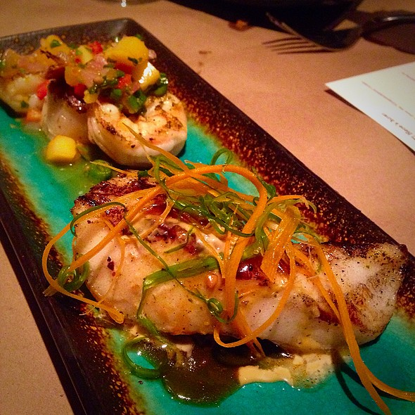 Pan Asian Sea Bass And Mango Shrimp With Scallops