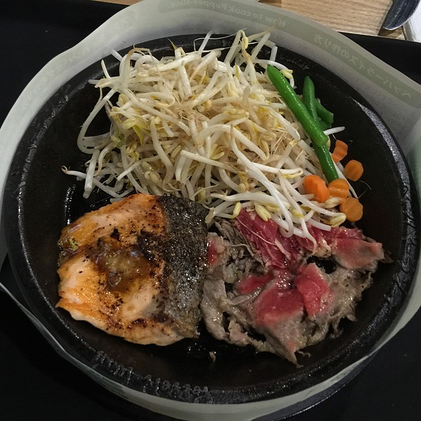 Salmon & Bbq Beef Combo @ Pepper Lunch Express - Chatswood