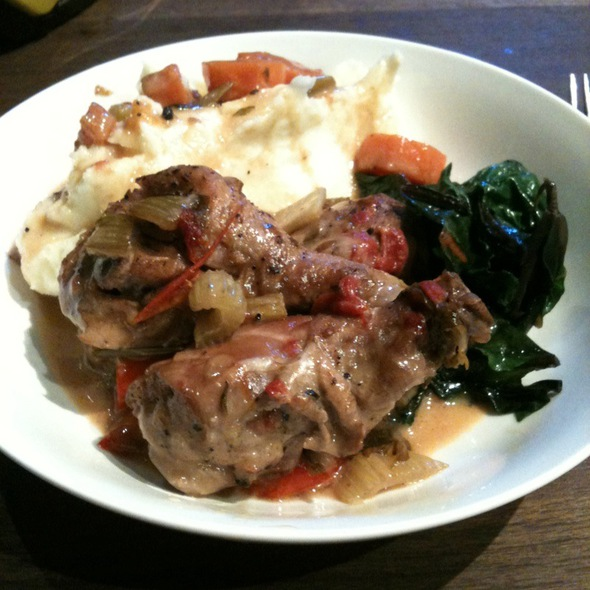 Braised Chicken With Mashed Potatoes And Sauteed Swiss Chard @ Dirty Apron Deli