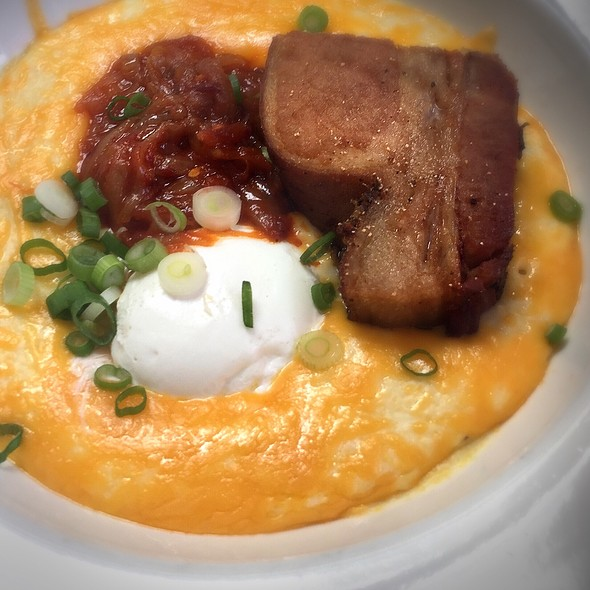 Crispy Pork Belly On Cheesy Grits