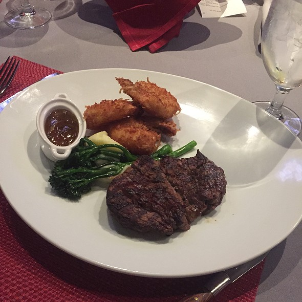 Filet Mignon With Mashed Potatoes And Broccoli Rabe And Coconut Shrimp - Center Cut Steakhouse - Flamingo Las Vegas, Las Vegas, NV