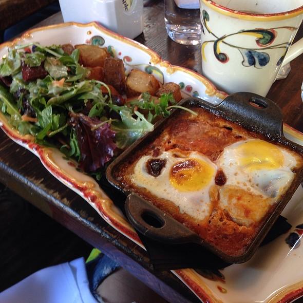 Baked Egg With Tomato, Mushroom And Sausage - Olio e Più, New York, NY